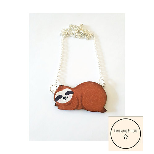 Sleepy sloth necklace// wooden// silver plated chain