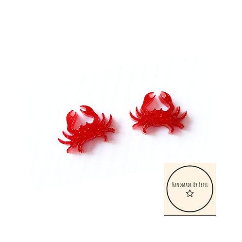 Little crab stud earrings // red glitter// acrylic //14mm