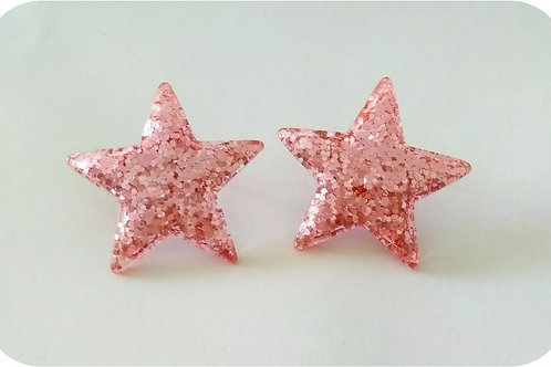 XL pink glitter stars stud earrings// 38mm / light pink / stainless steel posts
