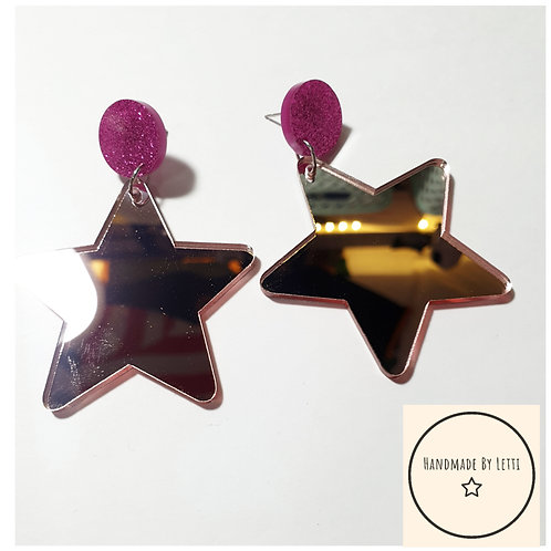 Giant mirror acrylic star earrings / stud dangle drop / rose gold