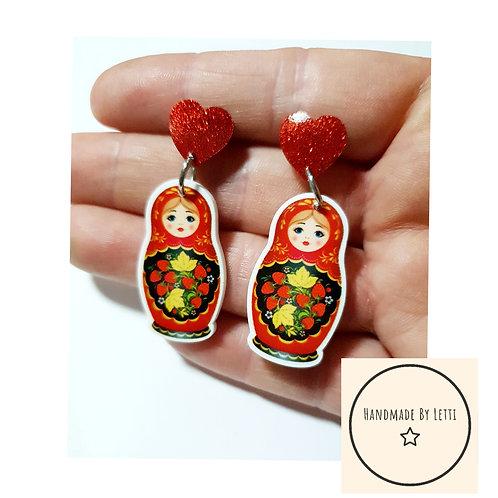 Russian dolly dangle drop earrings / resin