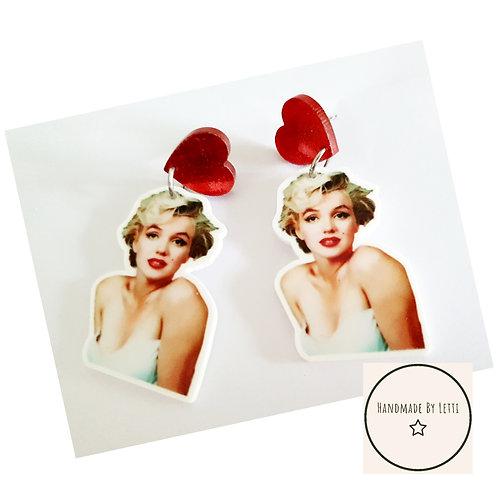 Monroe love XL stud dangle drop earrings/ red glitter heart studs