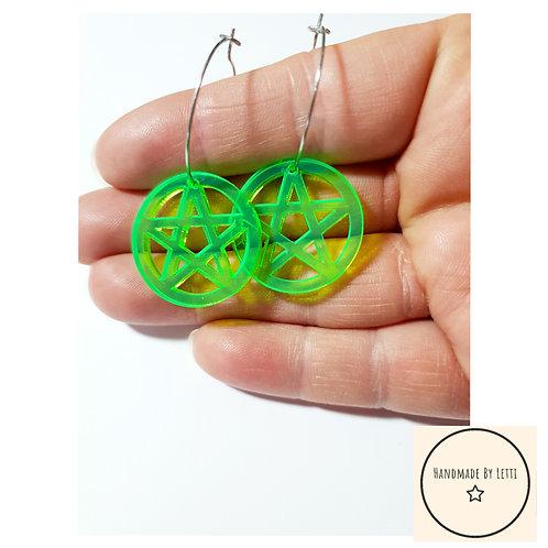 Neon acrylic pentacles hoops / acid green/ stainless Steel hoops