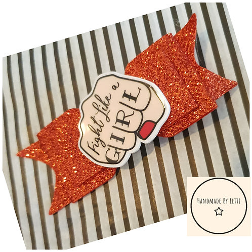 Fight like a girl glitter hair bow / 8.5cm / alligator clip / red