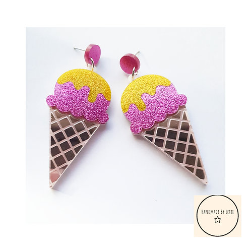 Large acrylic ice creams stud dangle drop earring // pink