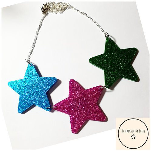 Giant trio of stars necklace / glitter acrylic/ blue, pink & green