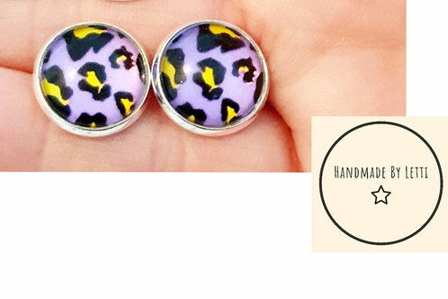 Leopard print 12mm stud earrings // silver plated // purple and yellow