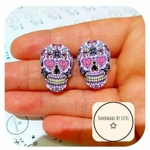 Purple sugar skull studs //wooden recycled button