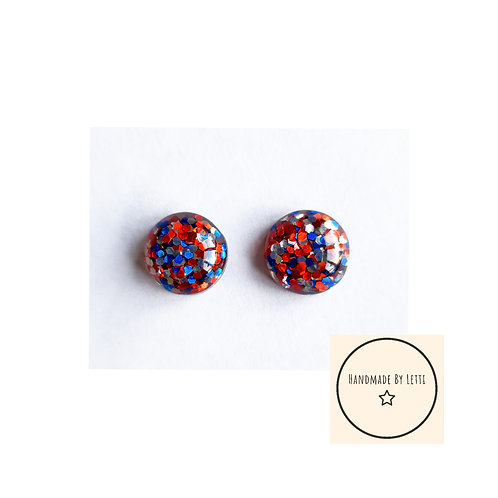 12 mm glitter resin stud earrings // blue red