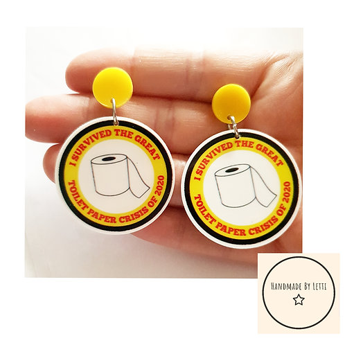 I survived the loo roll crisis stud dangle drop earrings/ XL resin /yellow