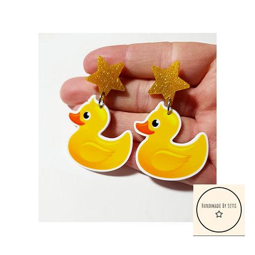 Hello Ducky stud dangle drop earrings / resin