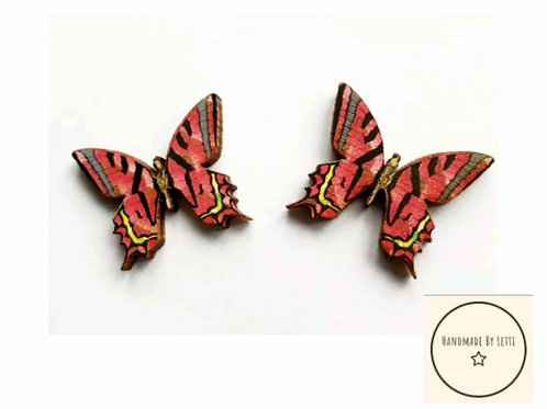Small wooden red butterfly studs
