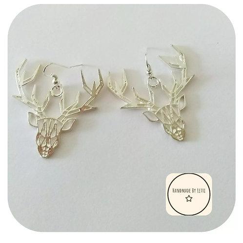 Stag Origami Large Earrings🦌🦌 Dangle Drop ⭐ Handmade✨Unique Christmas reindeer