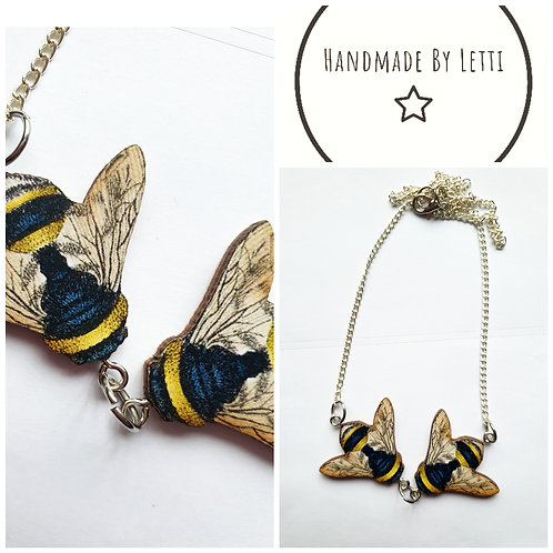Double buff tailed bee necklace / wooden / silver plated chain