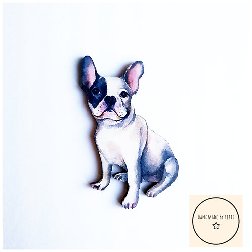 Black and white frenchie dog brooch
