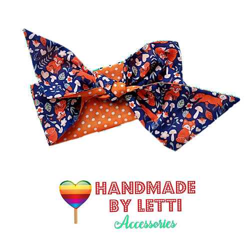 Woodland fox  and orange dot Reversable hair wrap / polycotton