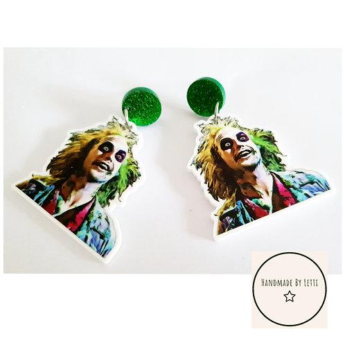 Green beetle Vampy XL stud dangle drop earrings/ green glitter stud