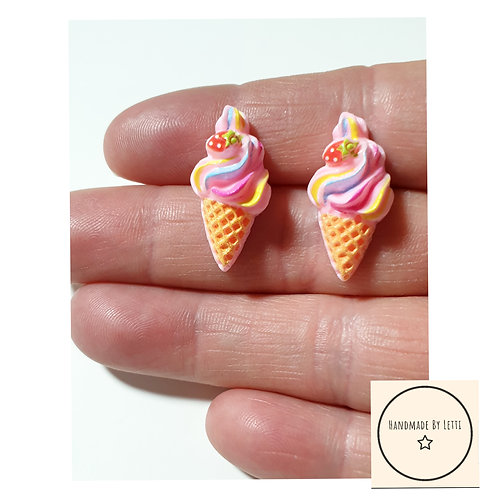 Pink strawberry ice cream  stud earrings / resin