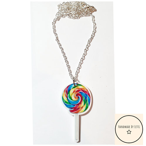 Rainbow lolly  resin necklace / silver plated chain
