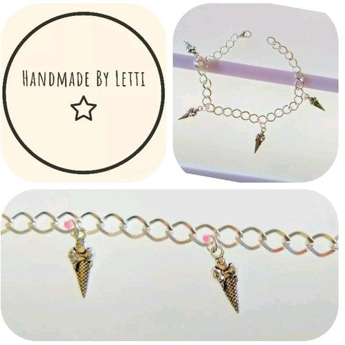 Charm Bracelet ice cream Tibetan Silver pink Bead 🍦Perfect Gift 🍦  handmade