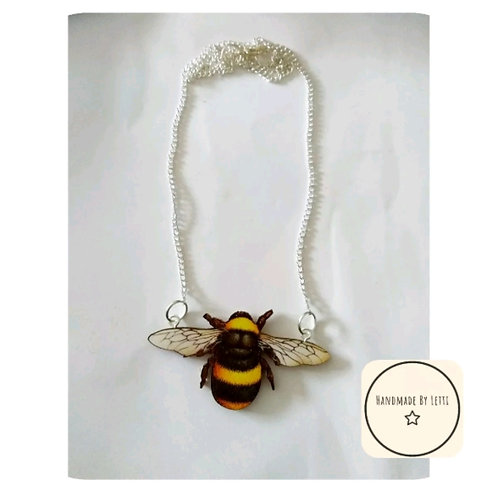 """Bee wing Necklace 💖 Wooden🌟18"""" silver Plated Chain🦋60mm large bumble Bee"""
