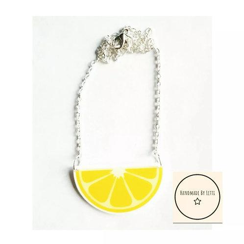 Lemon Acrylic Necklace Summer Yellow Handmade 45mmx25mm