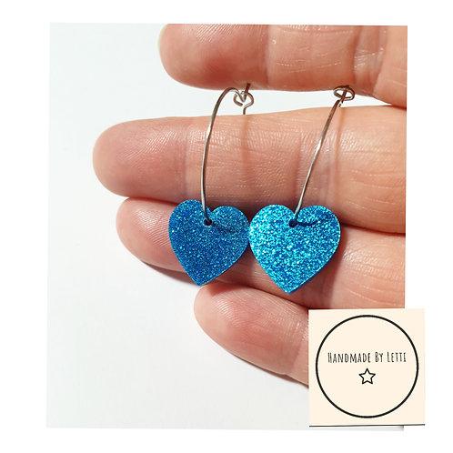 Heart hoop earrings / blue 16mm acrylic glitter  / 25mm hoop
