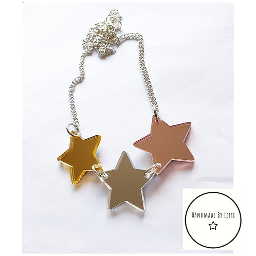 Trio of stars necklace / 25mm acrylic rose, gold & silver mirror / silver plated
