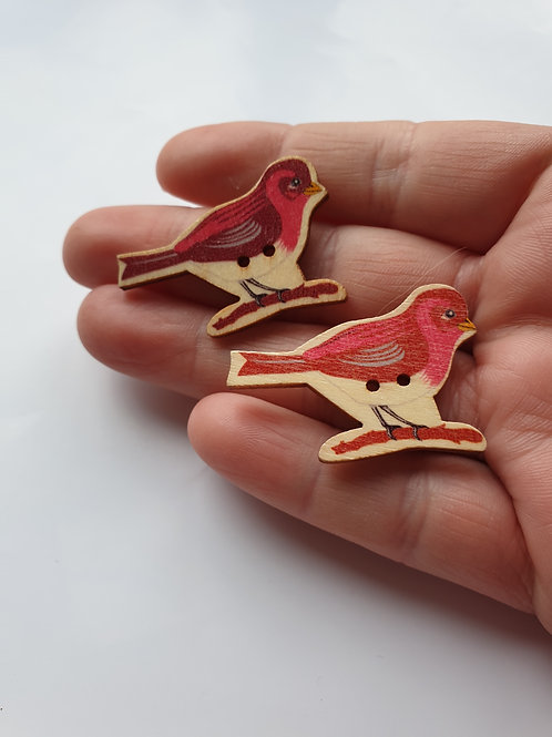 Recycled button bird earrings studs/ large red bird