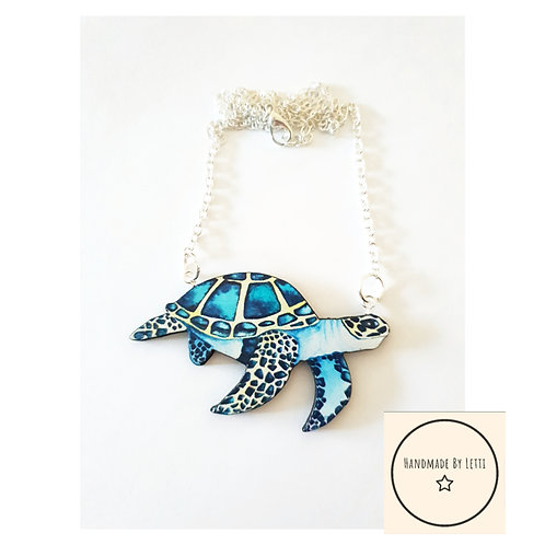 Sea turtle necklace // wooden // blue // silver plated chain