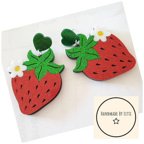 Giant strawberries stud dangle drops // acrylic// glitter