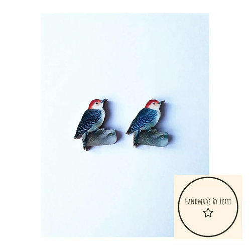 Tiny Wooden Bird Stud Earrings perfect Gift limited Edition blue