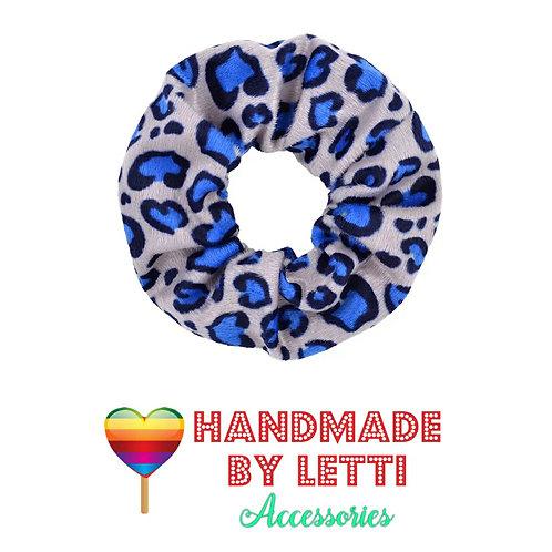 Leopard print fluffy 80s scrunchie / grey & blue