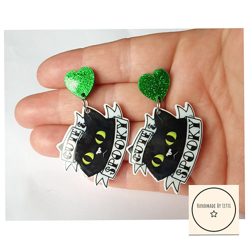 Cute & spooky cat halloween earrings / stud dangle drops /resin