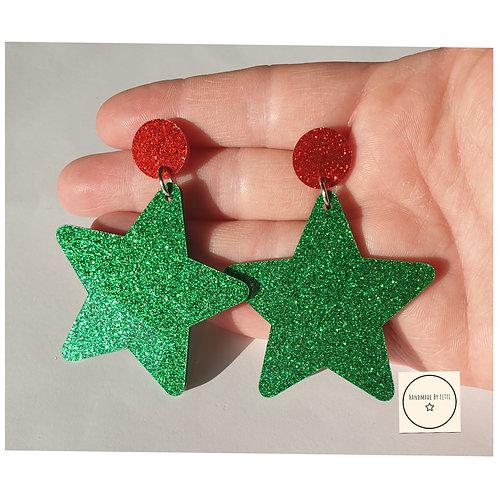 Giant acrylic star earrings / stud dangle drop / green