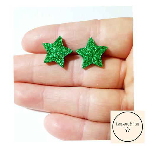 Green glitter star stud earrings/ 18mm/ acrylic