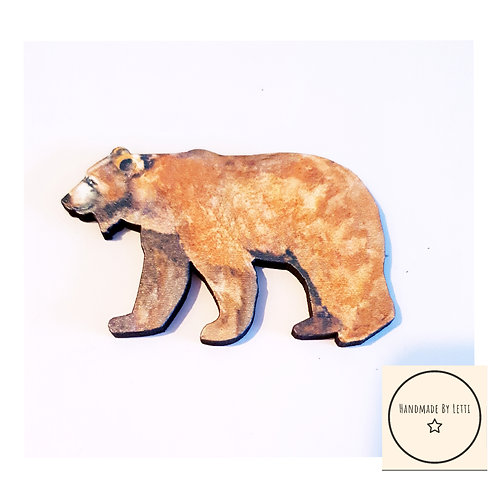 Grizzly bear wooden brooch / brown bear