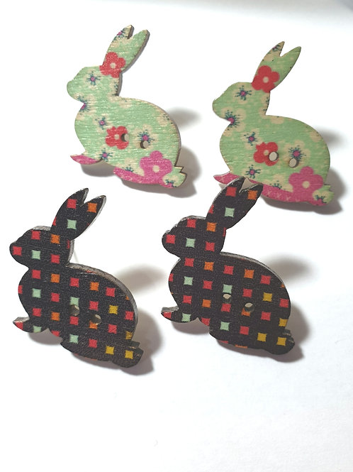 Easter bunny Recycled button stud earrings/wooden set of 2