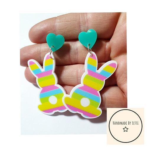 Cute pastel Easter bunny  stud dangle drop earrings / resin