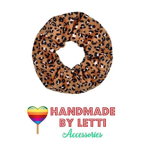 Leopard print fluffy 80s scrunchie /  brown