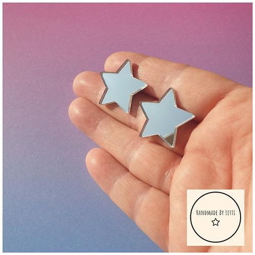 Mirror silver stars stud earring / 25mm / acrylic