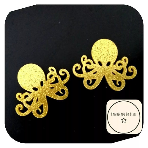 Acrylic Glitter Octopus Stud Earrings gold Glitter Handmade Quirky  38mm