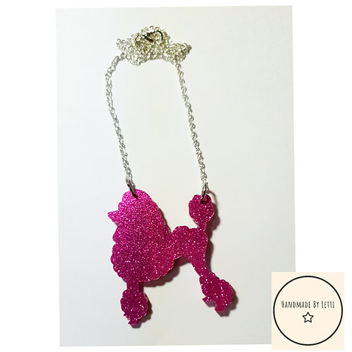 Poodles! Pink glitter acrylic necklace / silver plated chain