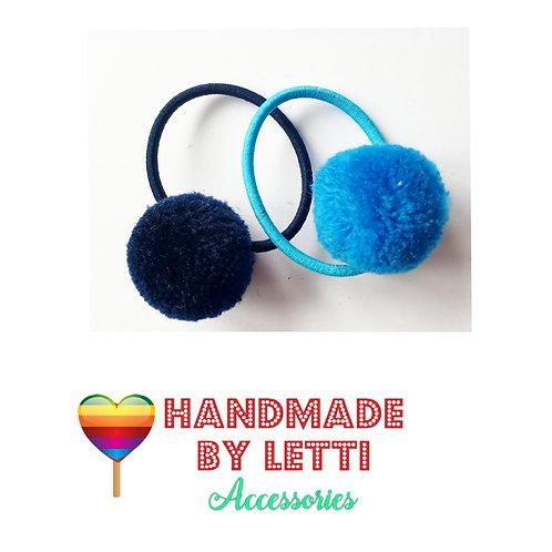 Mini Pom Pom hair ties / set of 2 /  navy & blue