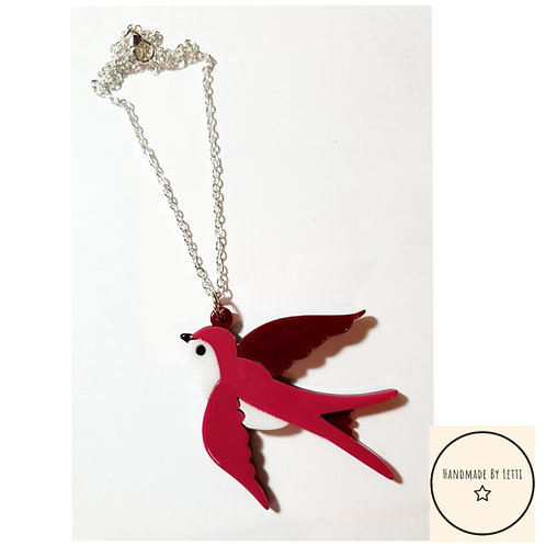 Swallow bird acrylic  necklace / silver plated chain