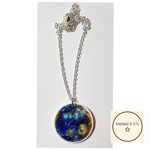 Over the moon resin necklace / silver plated chain