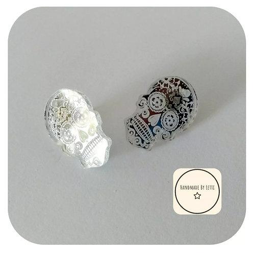 Small sugar skull studs // silver acrylic mirror // quirky
