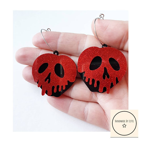 Poison apple acrylic hoop earrings / red laser cut / red