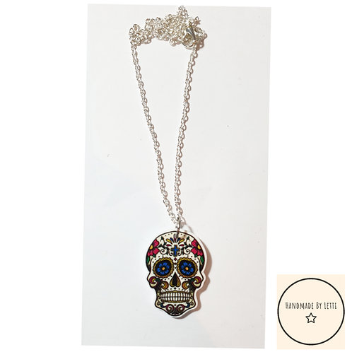 Small sugar skull resin necklace / silver plated chain