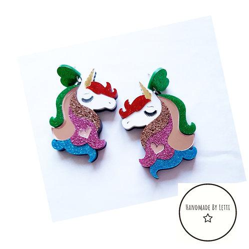 Glitter unicorn stud dangle drop earrings/ XL acrylic